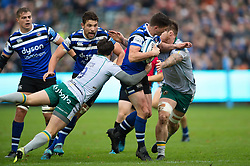 Freddie Burns of Bath Rugby takes on the Northampton Saints defence - Mandatory byline: Patrick Khachfe/JMP - 07966 386802 - 09/11/2019 - RUGBY UNION - The Recreation Ground - Bath, England - Bath Rugby v Northampton Saints - Gallagher Premiership