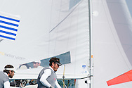 Miami, USA, February 1, 2014 - Greece finished 5th at the ISAF Sailing World Cup in Miami.  The event is part of the qualifying circuit for Olympic hopefuls.  The 470 is the two-person dinghy that will be raced in the 2016 Olympics in Rio de Janeiro.  Pictured here:  rounding the mark.