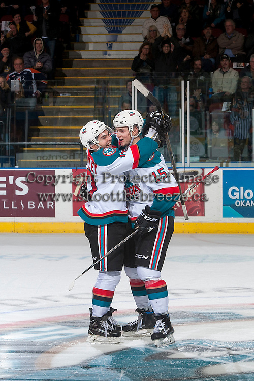 KELOWNA, CANADA - JANUARY 7: Nick Merkley #10 and Tomas Soustal #15 of the Kelowna Rockets celebrate a shoot out goal against the Kamloops Blazers on January 7, 2017 at Prospera Place in Kelowna, British Columbia, Canada.  (Photo by Marissa Baecker/Shoot the Breeze)  *** Local Caption ***