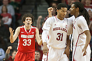 January 20, 2014: David Rivers (2) of the Nebraska Cornhuskers talks to  Shavon Shields (31) after Shields was fouled by Amedeo Della Valle (33) of the Ohio State Buckeyes at the Pinnacle Bank Arena, Lincoln, NE. Nebraska won in the game against Ohio State 68 to 62.