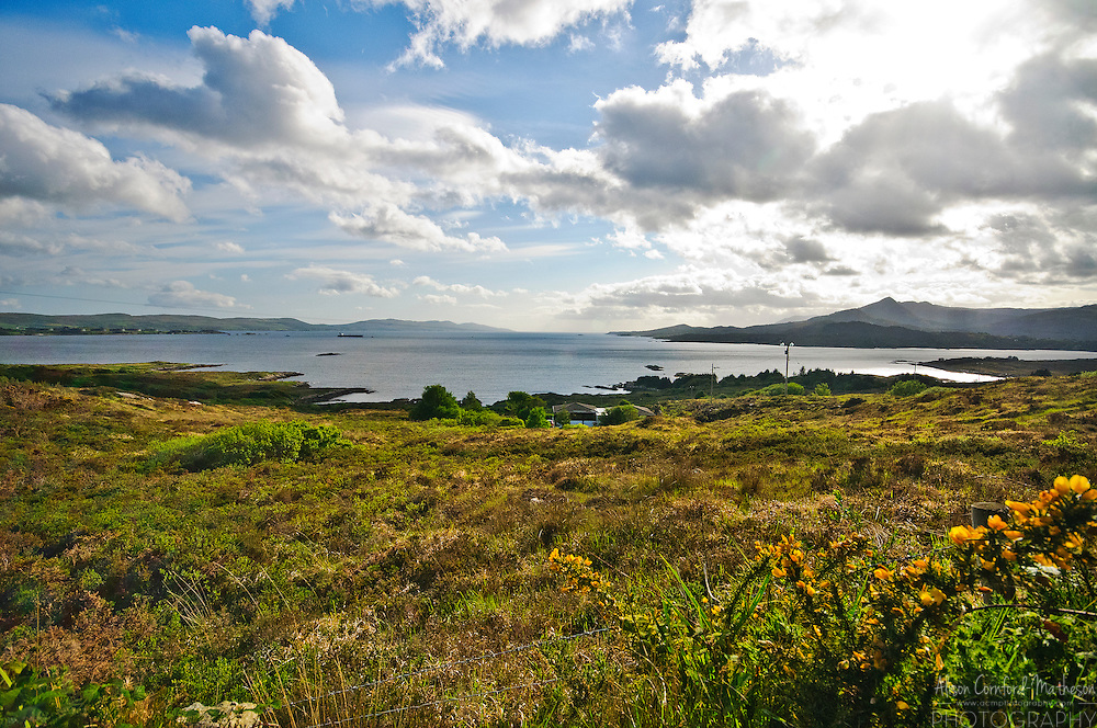 A scenic landscape vista of the Ring of Beara in County Kerry, Ireland.