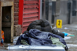© Licensed to London News Pictures. 03/03/2019. London, UK. Clothing with blood stains outside The Coach and Horses pub in Romilly Street in Soho. According to the police, a man aged 30 yrs old is seriously injured in hospital and a woman has been arrested. Photo credit: Dinendra Haria/LNP