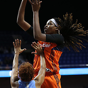 UNCASVILLE, CONNECTICUT- JUNE 3:  Jonquel Jones #35 of the Connecticut Sun shoots over Carla Cortijo #8 of the Atlanta Dream during the Atlanta Dream Vs Connecticut Sun, WNBA regular season game at Mohegan Sun Arena on June 3, 2016 in Uncasville, Connecticut. (Photo by Tim Clayton/Corbis via Getty Images)