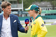 Meg Lanning interviewed at the toss before the Royal London Women's One Day International match between England Women Cricket and Australia at the Fischer County Ground, Grace Road, Leicester, United Kingdom on 2 July 2019.