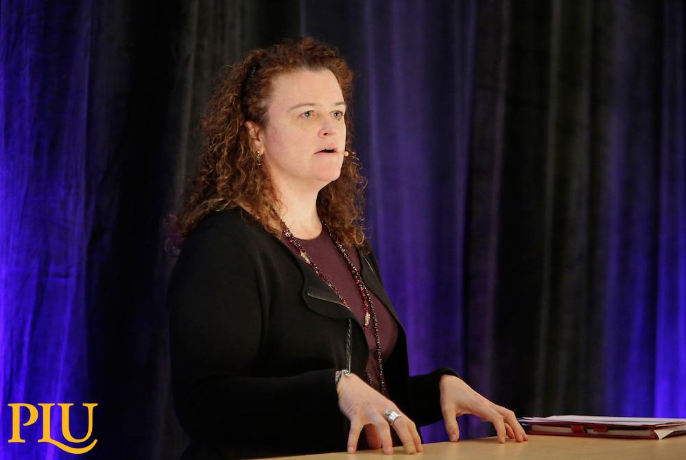Lori Laubach, principal with Moss Adams, LLP speaking at the Executive Leadership Series at PLU on Thursday, Feb. 26, 2015. (Photo/John Froschauer)