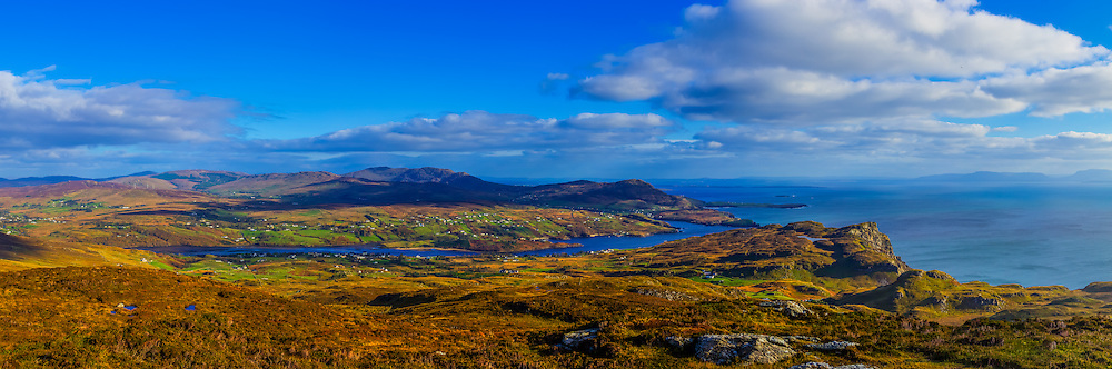 View looking East from the summit of An Cappagh near Bunglass viewpoint towards Teelin, the Mouth of the Glen River and Donegal Bay, with the Sligo coastline visible in the far distance taken on my holiday to Donegal in October 2014 on a nice sunny day.<br />