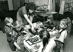 Art class, primary school Nottingham UK 1992