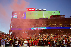 SANTA CLARA, USA - Saturday, July 30, 2016: Liverpool supporters set off a red smoke bomb during the International Champions Cup 2016 game against AC Milan on day ten of the club's USA Pre-season Tour at the Levi's Stadium. (Pic by David Rawcliffe/Propaganda)