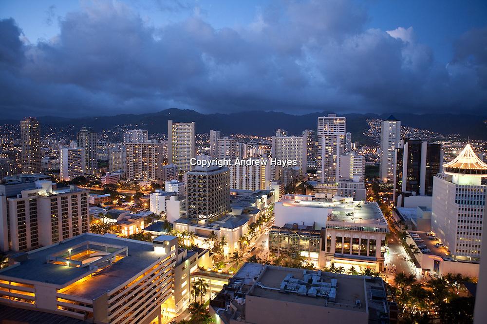 Looking over Waikiki, Honolulu, Hawaii at night