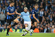 Manchester City forward Sergio Aguero (10) gets the shot on goal during the Champions League match between Manchester City and Atalanta at the Etihad Stadium, Manchester, England on 22 October 2019.