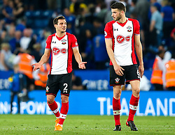 Wesley Hoedt and Cedric Soares of Southampton cut a dejected figures at full time as their team draw with Leicester City- Mandatory by-line: Robbie Stephenson/JMP - 19/04/2018 - FOOTBALL - King Power Stadium - Leicester, England - Leicester City v Southampton - Premier League