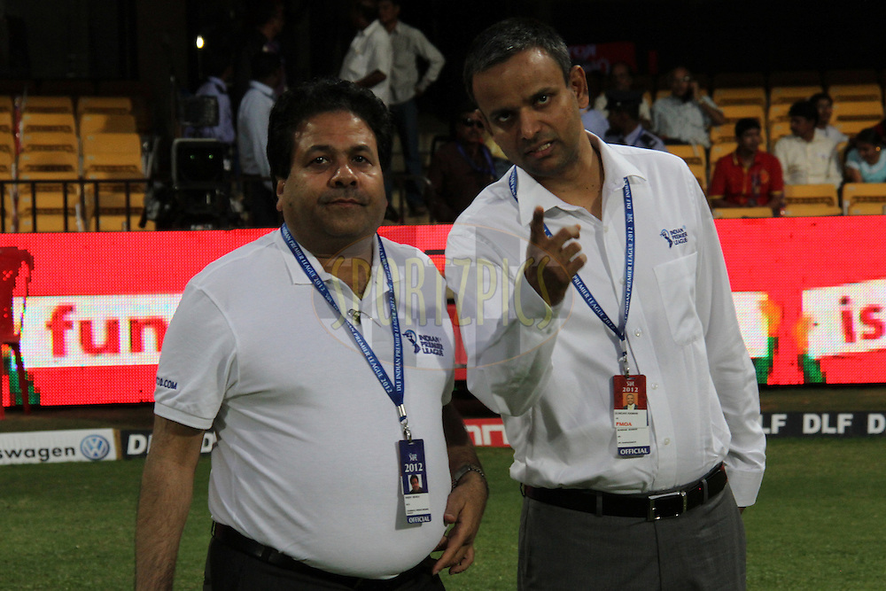 IPL Chairman Rajiv Shukla and IPL CEO Sunder Raman before commencement of match 21 of the the Indian Premier League ( IPL) 2012  between The Royal Challengers Bangalore and the Pune Warriors India held at the M. Chinnaswamy Stadium, Bengaluru on the 17th April 2012..Photo by Prashant Bhoot/IPL/SPORTZPICS