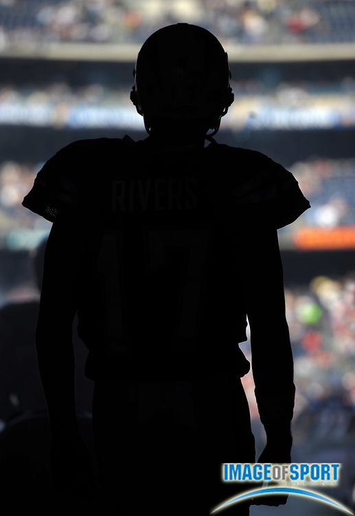 Aug 14, 2010; San Diego, CA, USA; Silhouette of San Diego Chargers quarterback Phillip Rivers (17) during the preseason game against the Chicago Bears at Qualcomm Stadium. Photo by Image of Sport