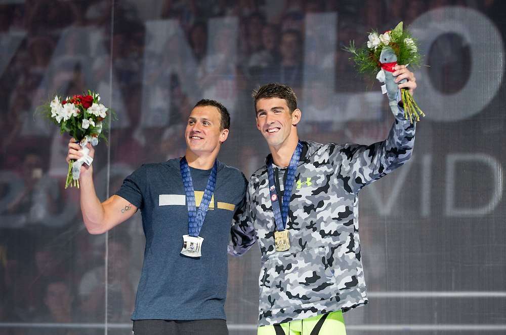 Omaha, Nebraska --<br /> <br /> Michael Phelps and Ryan Lochte accept their medals for the men's 200 individual medley during the  U.S. Olympic Swim Trials at the CenturyLink Center on Friday, July 1, 2016, in Omaha.<br /> <br /> MATT DIXON/THE WORLD-HERALD