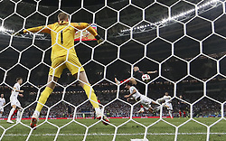 MOSCOW, July 11, 2018  Ivan Perisic (top) of Croatia shoots during the 2018 FIFA World Cup semi-final match between England and Croatia in Moscow, Russia, July 11, 2018. Croatia won 2-1 and advanced to the final. (Credit Image: © Cao Can/Xinhua via ZUMA Wire)