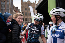 Elisa Longo-Borghini (ITA) and Lotta Lepisto (FIN) of Trek-Segafredo stop to chat with retired rider Emma Johansson before the AG Driedaagse Brugge-De Panne - a 134.4 km road race, between Brugge and De Panne on April 21, 2018, in West Flanders, Belgium. (Photo by Balint Hamvas/Velofocus.com)