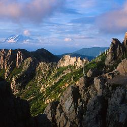 Mt. Rainier and Goat Rocks Wilderness from Mt. Margaret Backcountry, Mt. St. Helens National Volcanic Monument, Washington, US