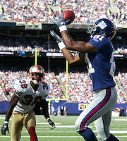 Oct 21, 2007: East Rutherford, NJ, USA: New York Giants wide receiver (81) Amani Toomer scores a touchdown against the San Francisco 49ers during the first half at Giants Stadium.  Giants won 33-15..