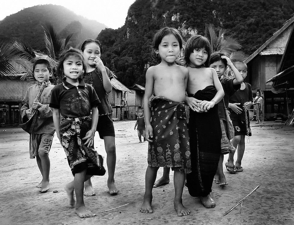 Children along the Nam Ou (river), Laos.