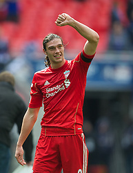 LONDON, ENGLAND - Saturday, April 14, 2012: Liverpool's match-winner Andy Carroll celebrates his side's 2-1 victory over Everton during the FA Cup Semi-Final match at Wembley. (Pic by David Rawcliffe/Propaganda)