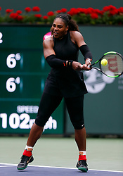 March 10, 2018 - Indian Wells, CA, U.S. - INDIAN WELLS, CA - MARCH 10: Serena Williams ( USA ) hits a backhand  the second round of the BNP Paribas Open on March 10, 2018, at the Indian Wells Tennis Gardens in Indian Wells, CA. (Photo by Adam  Davis/Icon Sportswire) (Credit Image: © Adam Davis/Icon SMI via ZUMA Press)