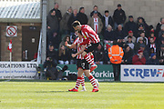 Shay McCartan celebrates his goal  during the EFL Sky Bet League 2 match between Lincoln City and Cheltenham Town at Sincil Bank, Lincoln, United Kingdom on 13 April 2019.
