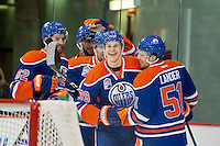 KELOWNA, CANADA - OCTOBER 2: Jesse Puljujarvi #39 of the Edmonton Oilers celebrates a goal with teammates against Los Angeles Kings on October 2, 2016 at Kal Tire Place in Vernon, British Columbia, Canada.  (Photo by Marissa Baecker/Shoot the Breeze)  *** Local Caption *** Jesse Puljujarvi;