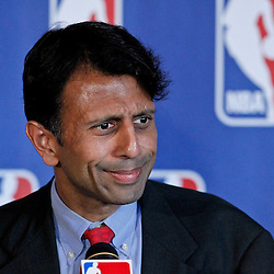 April 16, 2012; New Orleans, LA, USA; Louisiana Governor Bobby Jindal during announcement that the NBA has awarded the 2014 NBA All-Star game to the city of New Orleans during a press conference at the New Orleans Arena.   Mandatory Credit: Derick E. Hingle-US PRESSWIRE