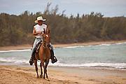 A horse rider on Playa Shacks beach in Isabela Puerto Rico