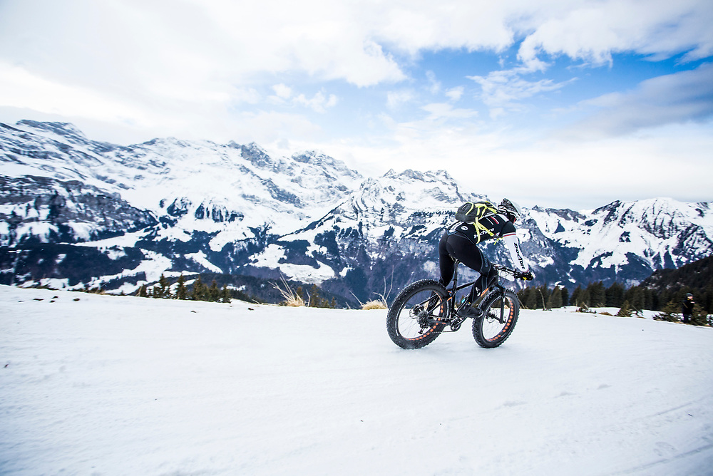 A rider enjoys the decent during stage 2 and 3 of the first Snow Epic, the ascent and decent of Brunni H&uuml;tte near Engelberg, in the heart of the Swiss Alps, Switzerland on the 16th January 2015<br /> <br /> Photo by:  Nick Muzik / Snow Epic / SPORTZPICS