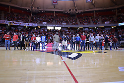 11 February 2017:  the MVC Championship Redbird team and other Redbird notables take center court for recognition during halftime of a College MVC (Missouri Valley conference) mens basketball game between the Bradley Braves and Illinois State Redbirds in  Redbird Arena, Normal IL
