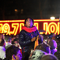 Nederland, Amsterdam , 6 januari 2015.<br /> spanning tijdens het Kanjerfeest (wijkfeest) van de Postcode Loterij in Gaasperdam Amsterdam Zuidoost. Op de achtergrond de Nederlandse Zanger Wolter Kroes.<br /> Foto:Jean-Pierre Jans