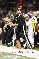 28 November 2011: Head coach Sean Payton of the New Orleans Saints argues a call while coaching against the New York Giants during the Saints 49-24 victory over the Giants at the Mercedes-Benz Superdome in New Orleans, LA.