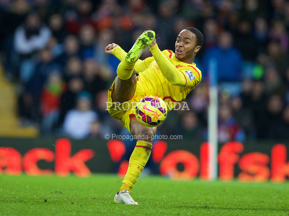 BIRMINGHAM, ENGLAND - Saturday, January 17, 2015: Liverpool's Raheem Sterling in action against Aston Villa during the Premier League match at Villa Park. (Pic by David Rawcliffe/Propaganda)
