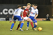Bury Forward  Chris Maguire (7) and Bury Defender,  Craig Jones (2) battles for possession during the EFL Sky Bet League 1 match between Bury and Fleetwood Town at the JD Stadium, Bury, England on 30 December 2017. Photo by Mark Pollitt.