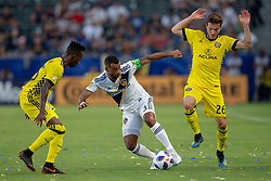July 7, 2018 - Carson, California, U.S - Ashley Cole #3 of the LA Galaxy in between two Columbus Crew defenders during their MLS game on Saturday July 7, 2018 at StubHub Center in Carson, California. LA Galaxy defeats Crew, 4-0. (Credit Image: © Prensa Internacional via ZUMA Wire)