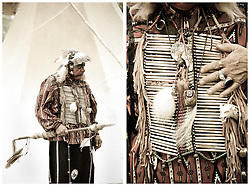 Chief Terrapin, Western Band Cherokee, wears traditional grab during the 2011 Annual Edisto Indian Natchez-Kusso Powwow Saturday in Ridgeville.