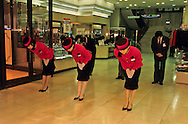 = Morning exercises at the ~Lotte~ department store~ Opening ceremony in the morning of an important department store of Seoul. The Korean are very fond of ceremonies.  +