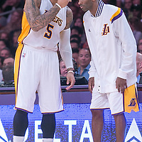 16 November 2014: Los Angeles Lakers forward Carlos Boozer (5) talks to Los Angeles Lakers guard Kobe Bryant (24) during the Golden State Warriors 136-115 victory over the Los Angeles Lakers at the Staples Center, Los Angeles, California, USA.