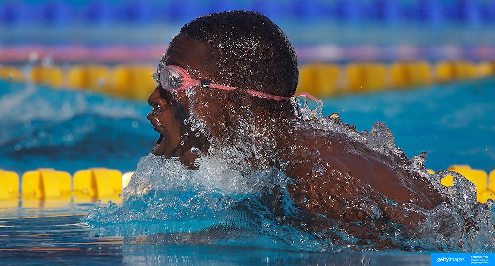 Boubacar Alou Moussa, Nigeria, in action in the Men's 50m breaststroke heats at the World Swimming Championships in Rome on Tuesday, July 28, 2009. Photo Tim Clayton.