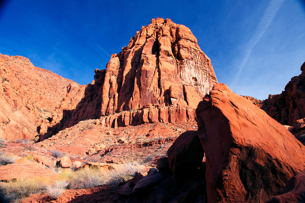 Nature landscape photograph of the Red Mountains of Snow Canyon State Park in Utah, USA.