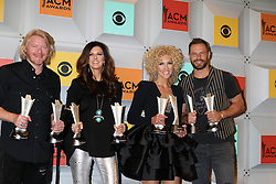 Philip Sweet, Karen Fairchild, Kimberly Schlapman, Jimi Westbrook, Little BIg Town, at the 2016 Academy of Country Music Awards Press Room, MGM Grand Garden Arena, Las Vegas, NV 04-03-16. EXPA Pictures © 2016, PhotoCredit: EXPA/ Photoshot/ Martin Sloan<br /> <br /> *****ATTENTION - for AUT, SLO, CRO, SRB, BIH, MAZ, SUI only*****