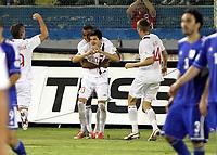 Fotball<br /> VM-kvalifisering<br /> 16.10.2012<br /> Kypros v Norge 1:3<br /> Foto: Savvides/Digitalsport<br /> NORWAY ONLY<br /> <br /> Joshua King og Tarik Elyounoussi feirer 2:1 til Norge