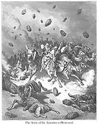 Destruction of the Army of the Amorites Joshua 10:11 From the book 'Bible Gallery' Illustrated by Gustave Dore with Memoir of Dore and Descriptive Letter-press by Talbot W. Chambers D.D. Published by Cassell & Company Limited in London and simultaneously by Mame in Tours, France in 1866
