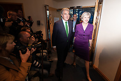 © Licensed to London News Pictures . 02/10/2018. Birmingham, UK. THERESA MAY and BRANDON LEWIS at the conference on day 3 of the Conservative Party conference at the ICC in Birmingham . Photo credit: Joel Goodman/LNP