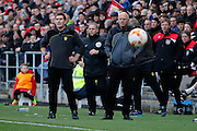 Burton Albion manager Nigel Clough and Burton Albion coach Andy Garner during the EFL Sky Bet Championship match between Bristol City and Burton Albion at Ashton Gate, Bristol, England on 4 March 2017. Photo by Richard Holmes.