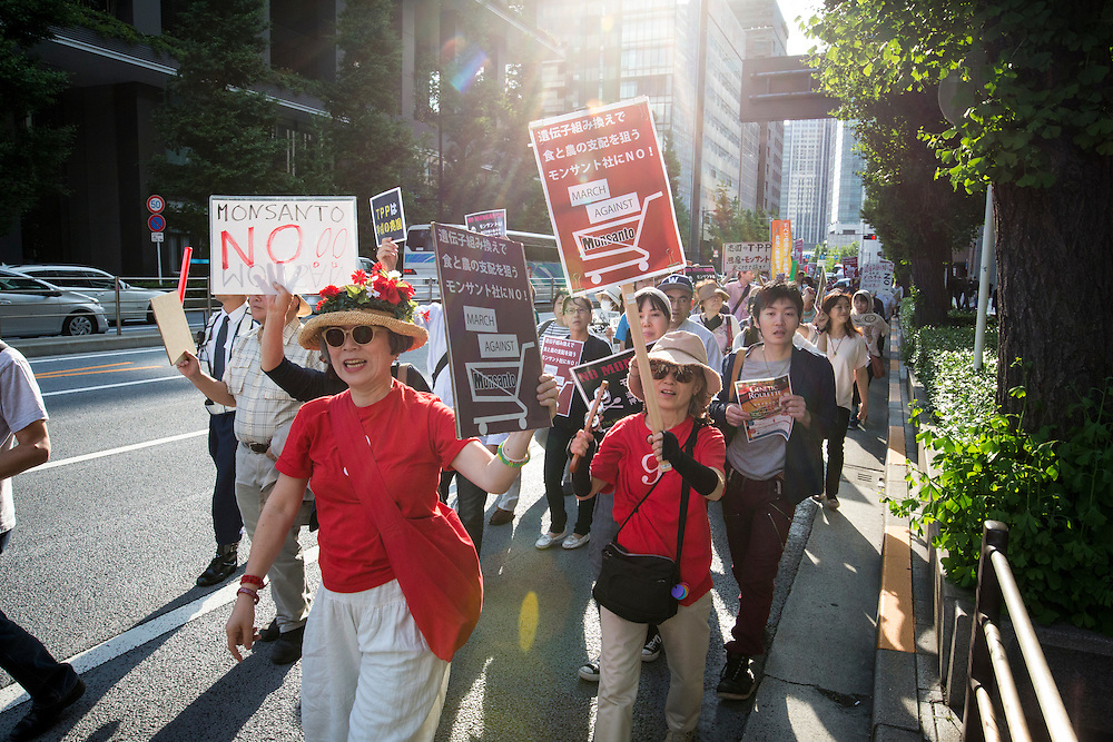 TOKYO, JAPAN - MAY 21 : Activists shout slogans during a protest against American chemical biotech giant, Monsanto in Tokyo, May 21, 2016. Activists took part in marches and rallies against Monsanto and genetically modified organisms (GMO) food and seeds in over 400 cities across the U.S. and other countries as part of a regular grassroots campaign calling attention to the dangers posed by GMO foods.<br /> <br /> Photo: Richard Atrero de Guzman