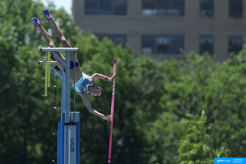 Jennifer Suhr, USA, in action in the Women's Pole Vault Competition at the Diamond League Adidas Grand Prix at Icahn Stadium, Randall's Island, Manhattan, New York, USA. 13th June 2015. Photo Tim Clayton