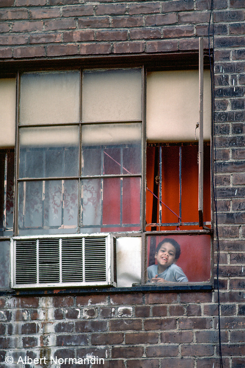 Pressed Face in Window, New York City, New York, USA, May 1982
