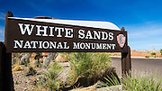 Entrance sign at White Sands National Monument, New Mexico USA